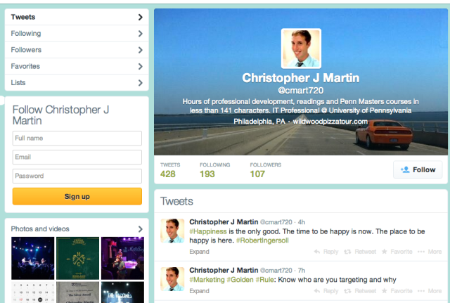 Twitter Layout Before